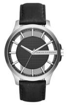 Men's Ax Armani Exchange Skeleton Dial Leather Strap Watch, 46mm