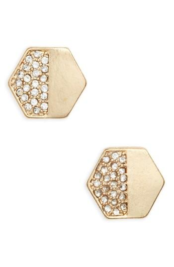 Women's Bp. Crystal Hexagon Stud Earrings