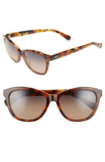 Women's Maui Jim Canna 54mm Polarized Cat Eye Sunglasses - Mocha Tortoise/ Bronze