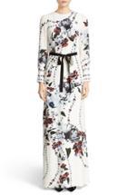 Women's Erdem Agnes Belted Floral Print Silk Gown