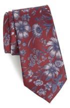 Men's Calibrate Fletcher Floral Print Silk & Cotton Tie