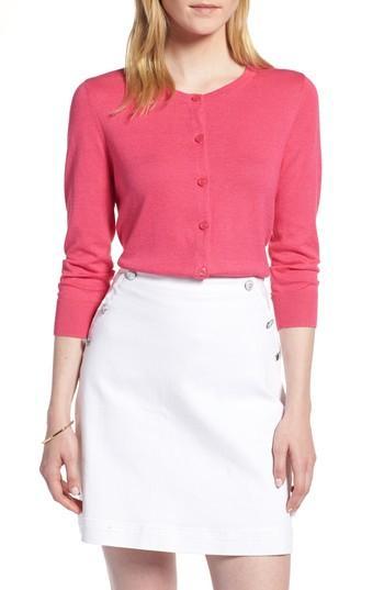 Petite Women's 1901 Cotton Blend Cardigan, Size P - Pink