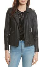 Women's Rebecca Taylor Washed Leather Moto Jacket - Black
