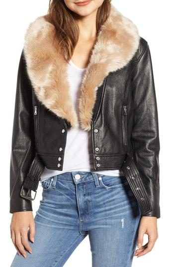 Women's Paige Rizza Lambskin Leather Moto Jacket With Removable Faux Fur Collar - Black