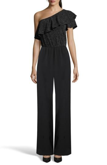 Women's Eci One-shoulder Ruffle Jumpsuit - Black