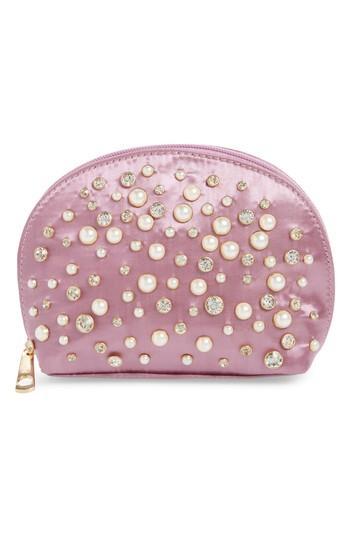 Yoki Bags Studded Cosmetics Bag, Size - Mauve