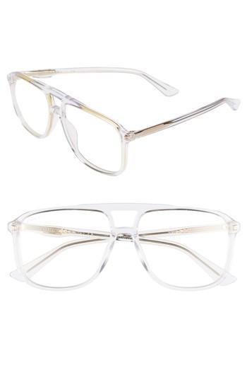 f7329821da5 Men s Gucci  80s Monocolor 58mm Aviator Sunglasses - Crystal ...
