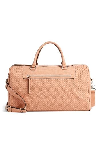 Violet Ray New York Woven Faux Leather Weekend Bag - Orange
