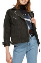 Women's Topshop Teddy Suede Biker Jacket Us (fits Like 10-12) - Grey