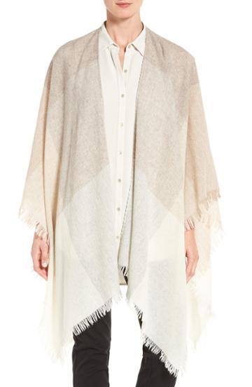 Women's Eileen Fisher Viaggio Wool Blend Serape, Size - Beige