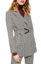 Women's Topshop Houndstooth Jacket Us (fits Like 0) - Black