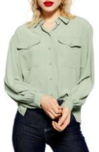 Women's Topshop Smart Pocket Shirt Us (fits Like 14) - Green