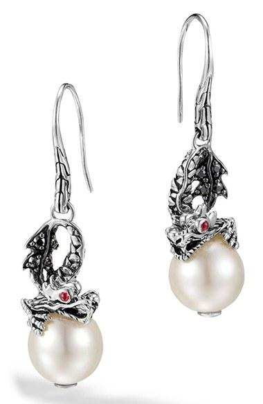 Women's John Hardy 'naga - Lava' Dragon & Pearl Drop Earrings