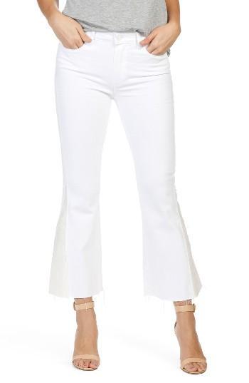 Women's Paige Colette Pieced High Waist Raw Hem Crop Flare Jeans - White