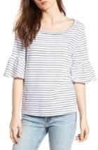 Women's Splendid Stripe Ruffle Sleeve Tee - White