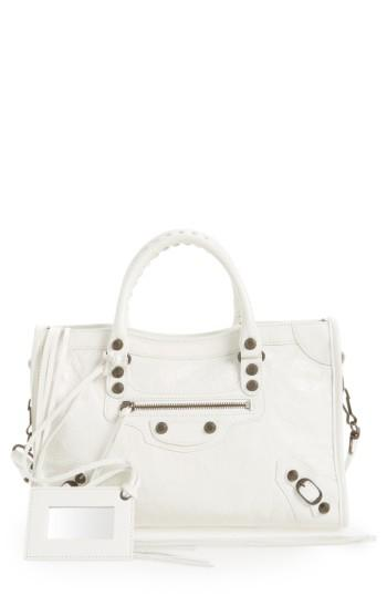 Balenciaga Small Classic City Leather Tote - White