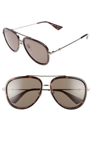 Women's Gucci 57mm Aviator Sunglasses - Havana/ Green