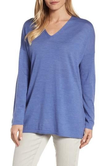 Petite Women's Eileen Fisher Merino Wool Tunic Sweater, Size P - Blue