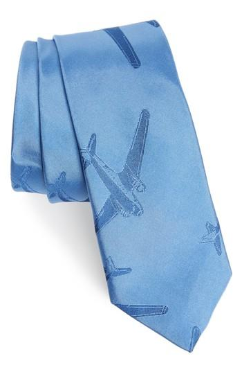 Men's Paul Smith Plane Print Silk Tie, Size - Blue