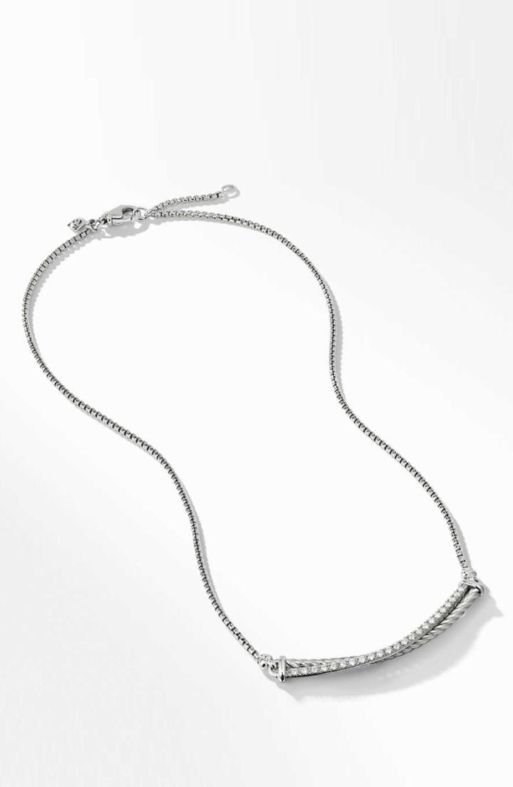 Women's David Yurman Crossover Bar Necklace With Diamonds