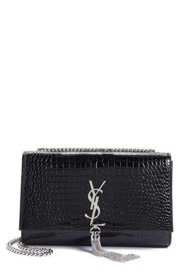 Saint Laurent Medium Kate Tassel Croc Embossed Calfskin Leather Crossbody Bag - Black