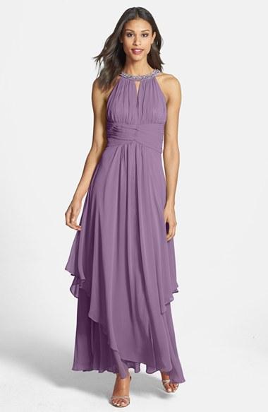 Women's Eliza J Embellished Tiered Chiffon Halter Gown - Purple