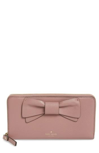 Women's Kate Spade New York Olive Drive - Lacey Bow Leather Wallet - Pink