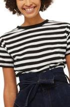 Women's Topshop Bold Stripe Tee Us (fits Like 0) - Black