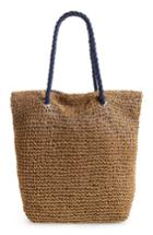 Cesca Rope & Straw Tote - Brown