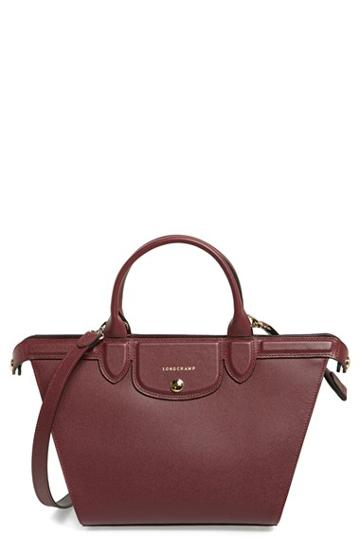 Longchamp 'medium Le Pliage - Heritage' Leather Satchel - Burgundy