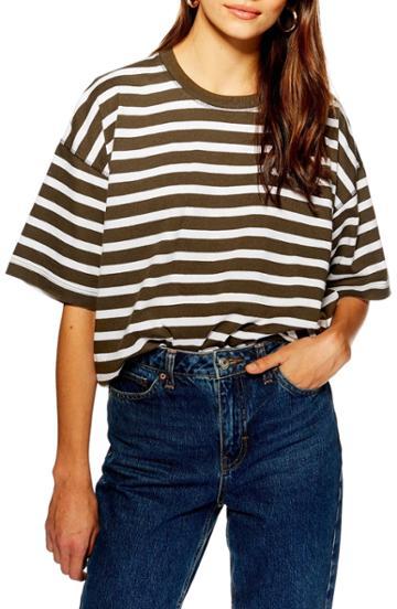 Petite Women's Topshop Stripe Boxy Tee - Green