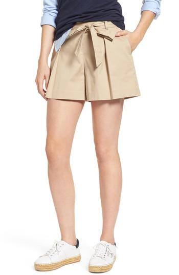 Women's 1901 Pleated Twill Bow Front Shorts - Brown
