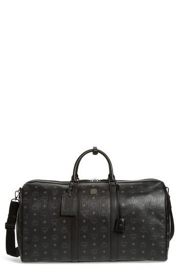 Men's Mcm Voyager Visetos Messenger Bag - Black