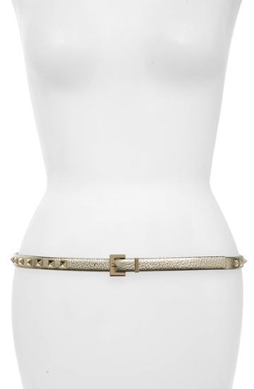 Women's Valentino Garavani Rockstud Leather Belt - Platino