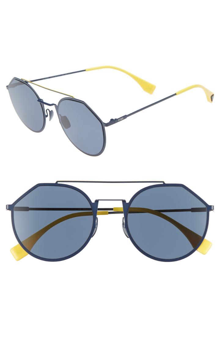 Men's Fendi 54mm Polarized Round Sunglasses -