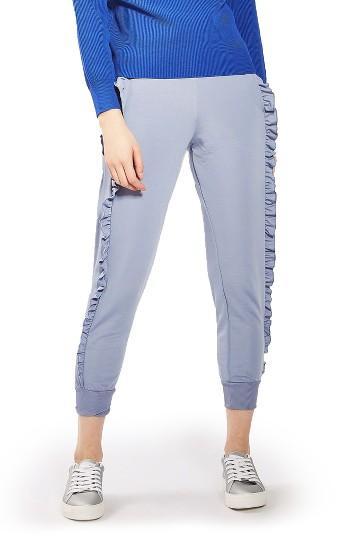Women's Topshop Ruffle Jogger Pants Us (fits Like 0) - Blue