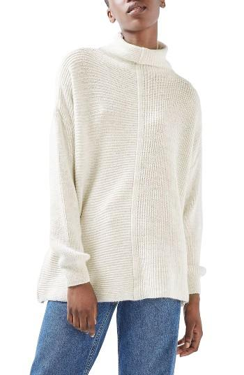 Women's Topshop Funnel Neck Mixed Knit Sweater