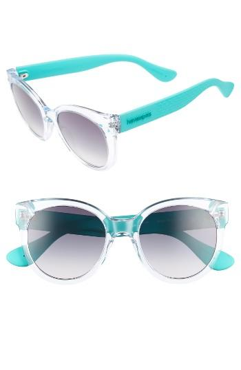 Women's Havaianas 52mm Cat-eye Sunglasses - Crystal Turquoise