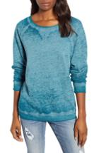 Petite Women's Caslon Burnout Sweatshirt P - Blue