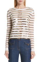 Women's Valentino Bow Embellished Stripe Cashmere Sweater - Metallic