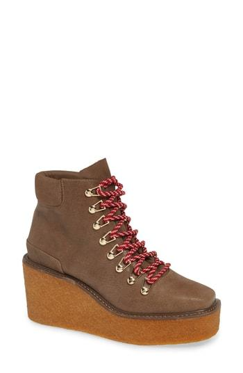 Women's Cecelia New York Helga Platform Wedge Sneaker .5 M - Beige