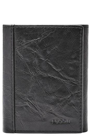 Men's Fossil Neel Leather Wallet - Black
