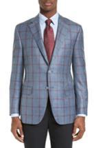 Men's Canali Classic Fit Windowpane Plaid Wool Blend Sport Coat