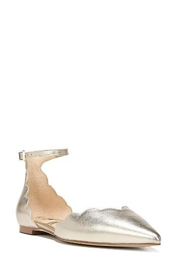 Women's Sam Edelman Rowan Scalloped Pointy Toe Flat M - Metallic