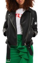 Women's Topshop Sisters Faux Leather Biker Jacket Us (fits Like 0) - Black
