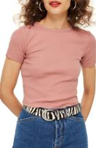Women's Topshop Scallop Edge Tee Us (fits Like 0) - Pink