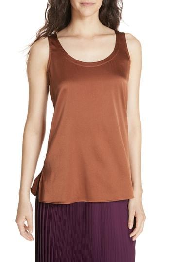 Women's Eileen Fisher Stretch Silk Shell, Size - Brown