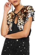 Women's Topshop Angel Oversize Sequin Cape, Size - Metallic