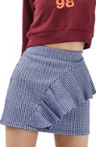 Women's Topshop Gingham Ruffle Miniskirt