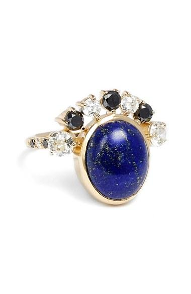 Women's Mociun Diamond & Lapis Cabochon Ring